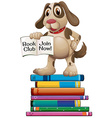 Dog and books vector image vector image