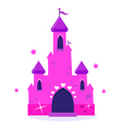 pink princess cartoon castle isolated on white vector image vector image