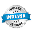 Indiana round silver badge with blue ribbon vector image