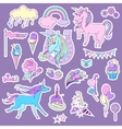Blue and pink unicorns with sweets roses for vector image