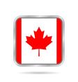 Flag of Canada Shiny metallic gray square button vector image