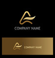 gold letter a abstract company logo vector image