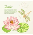 Watercolor painting of lotus and dragonfly vector image