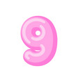 Number 9 candy font caramel alphabet nine vector image