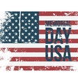 Memorial Day USA Type on colorful grunge Flag vector image