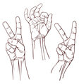 Set of three hands vector image vector image