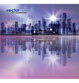 City skyline at night with reflection in water vector image