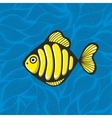 Golden fish on the waves background vector image