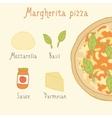 Margherita pizza ingredients vector image