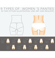 Underwear set 9 types of womens panties in two vector image