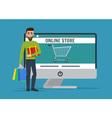 Man shopping online Business cartoon concept vector image