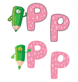 letter P pencil green vector image