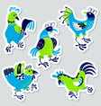 stickers set with decorative roosters isolated vector image