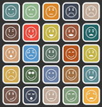 Circle face flat icons on balck background vector image