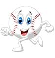 Cute baseball ball cartoon running vector image
