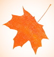 Orange pastel crayon autumn maple leaf background vector image