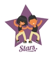 Dance school logo twosome dancers vector image