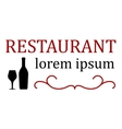 restaurant signboard with bottle and glass vector image vector image