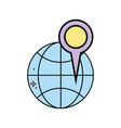 global map with magnifying glass location symbol vector image