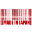 Made in Japan text and bar code from same words vector image