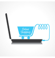 Online shopping concept with shopping cart vector image