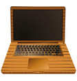laptop computer with wooden case vector image vector image