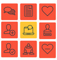 set of 9 social network icons includes confirm vector image