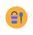 stylish icon in color circle bucket shovel vector image