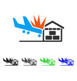airplane hangar crash flat icon vector image