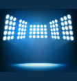 bright spotlights on dark blue background night vector image