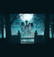 gothic castle behind gates in moonlight scary vector image