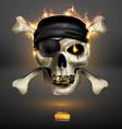 Skull on Fire Background vector image