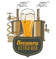 glass of beer and brewing machine vector image