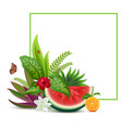 floral vegetable template greeting card frame vector image