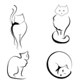black and white of cats vector image