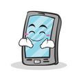 Happy face smartphone cartoon character vector image
