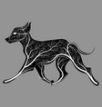 silhouette of a running dog with a texture of a vector image