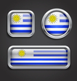 Uruguay flag glass buttons vector image vector image