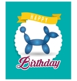 balloon puppy ribbon happy birthday card green vector image