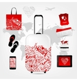 Romantic travel suitcase with set of trip things vector image