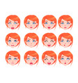set of female emotions of red-haired girl flat vector image