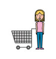 woman with shopping cart supermarket empty vector image