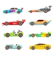 Sport racing car flat icons isolated on vector image