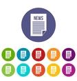 News newspaper set icons vector image