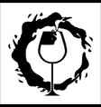 glass splashing with bubble of wine icon vector image