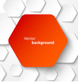 Red paper hexagon banner with drop shadows vector image