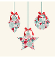 Merry Christmas hanging baubles elements vector image