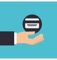 hand holding icon credit card design isolated vector image
