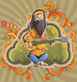 Hippie with guitar in nirvana vector image