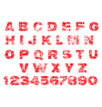 Red grunge alphabet rubber stamp vector image